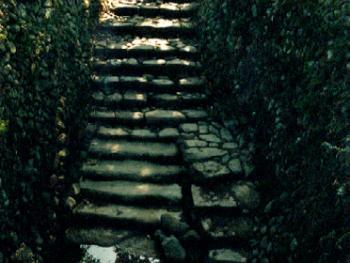 瓠瓜井:楠溪江有着许多蛋石,这口井的坑壁和坑底是用大块卵石砌成,在坑的最低处是水井,有长长的踏级通向坑底,由于坑的平面轮廓呈弯弯的长圆形,形若瓠瓜,因此这种井就叫瓠瓜井。