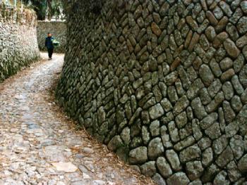 石墙:石头的形状、色泽、大小各异,砌法也各自不同,楠溪江人顺应和尊重石头自然本色,利用石头本身的变化,砌成厚重结实而各具风采的石墙,凸显了石头的天然之美。