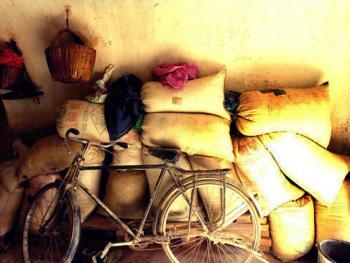 武文秀家堆放在长城居室内的部分余粮