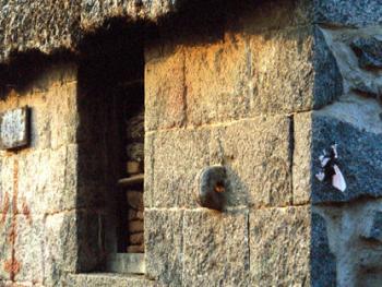 """(99年12月)这是""""海草房""""的花岗岩山墙一角,墙壁上镶有""""拴马石"""""""