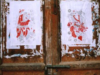 木刻套色招财进宝门神。拍摄地点:陕北