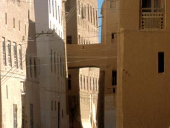 """狭窄街道上的""""天桥""""棕色和白色是哈德萨米建筑的主要颜色。如照片所示,有些人家用泥砖天桥来连接自己家的房子。这个地区还有具有自己独特风格的木雕窗"""