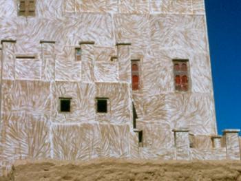 画一般的房子哈德拉毛地区用泥砖建房子,并涂上白石灰。在瓦迪达万,一些房子还被涂上花边