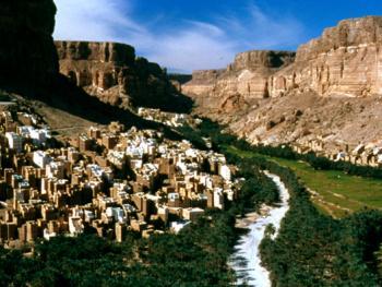 瓦迪的村庄也门的房屋是用当地的材料建成的,而且与自然地貌非常和谐地融为一体