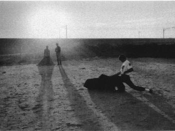 2.想成为斗牛士的狂热爱好者们聚集在城镇边尘土飞扬的停车场演习斗牛。他们很少有人会与真正的牛相遇,将斗牛作为自己的职业的人就更少了。