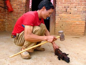 10.村民在演示传统的骟牛方法