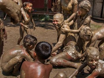 西孟加拉邦泥中抢椰子游戏09