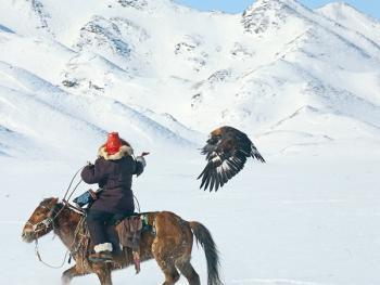 阿勒泰山的哈萨克猎鹰人05