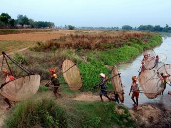 希拉巴提河妇女小网捕鱼09