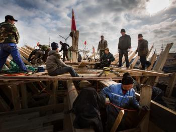 手工造木船10